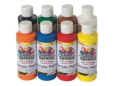 Color Splash Non Washable Acrylic Paints, Assorted, 8 Oz., 8/Pack (PT3127)