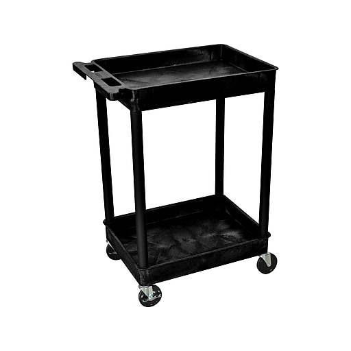 Luxor 2-Shelf Laminate Utility Cart, Black (STC11-B)