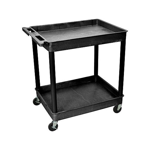 Luxor 2-Shelf Laminate Utility Cart, Black (TC11-B)