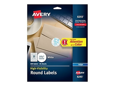"Avery High-Visibility Inkjet Multipurpose Labels, 1 1/2"" Dia., Matte White, 20/Sheet, 20 Sheets/Pack (8293)"