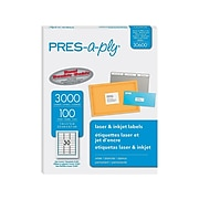 "Pres-a-ply Laser/Inkjet Address Labels, 1"" x 2 5/8"", White, 3000 Labels Per Pack (30600)"