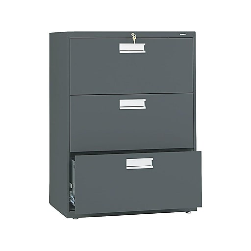 Hon Brigade 600 Series 3 Drawer Lateral File Charcoal Letter Legal 30 W Hon673ls Staples