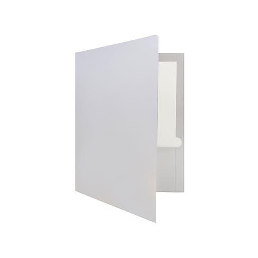 JAM Paper 2-Pocket Presentation Folders, Silver Glossy, 100/Box (385GSI)