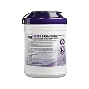 Sani PDI Super Sani-Cloth Large Fabric Wipers, White, 160 Wipers/Canister, 12 Canisters/Carton (Q55172)