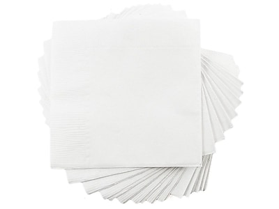 JAM Paper Small Beverage Napkins, 1-Ply, White, 50/Pack (5255620731)