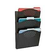 Safco 3-Pocket Steel Wall File, Letter Size, Black (3172BL)