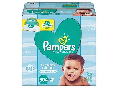 Pampers Complete Clean Fresh Baby Wipe Refills, 72 Wipes/Pack, 7 Packs/Carton