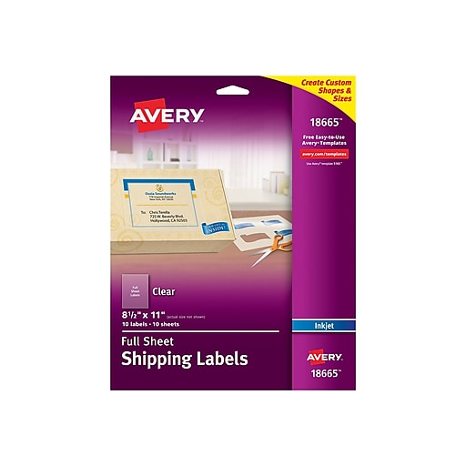 """Avery Inkjet Shipping Labels, 8 1/2"""" x 11"""", Matte Clear, 1/Sheet, 10 Sheets/Pack (18665)"""