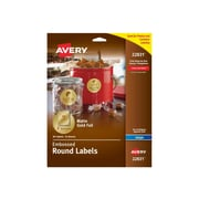 "Avery Easy Peel Inkjet Specialty Labels, 2"" Dia., Matte Gold, 12/Sheet, 8 Sheets/Pack (22831)"