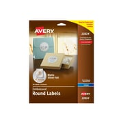 "Avery Easy Peel Inkjet Specialty Labels, 2"" Dia., Matte Silver, 12/Sheet, 8 Sheets/Pack (22824)"