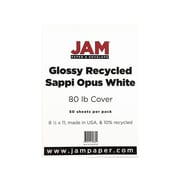 "JAM Paper Cardstock Paper, 80 Lbs, 8.5"" x 11"", White Glossy, 250/Pack (1034702f)"