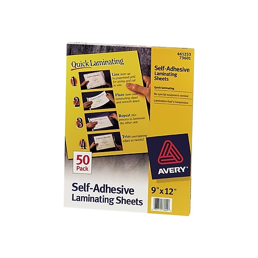 "Avery Self-Adhesive Laminating Sheets, 9"" x 12"", 50/Box (73601)"