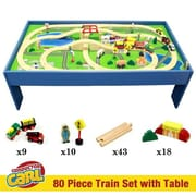 Conductor Carl Wooden Train Conductor Carl 80 Piece Wooden Train Set with Table (BB-CSDS-1000R)