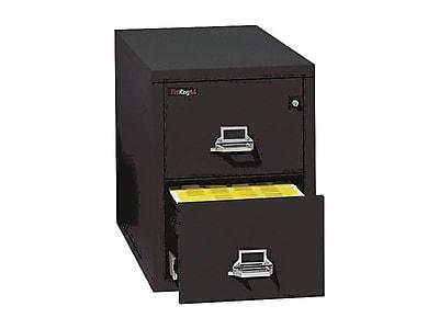 FireKing 25 2-Drawer Vertical File Cabinet, Fire Resistant, Letter, Black, 25