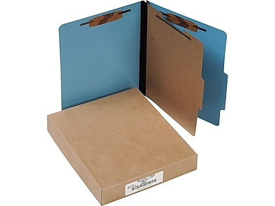 ACCO ColorLife PRESSTEX Classification Folders with Fasteners, Letter Size, 1 Divider, Light Blue, 10/Box (A7015642)