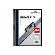 DURABLE Report Cover with DURACLIP, Letter-size, Holds Up to 60 Pages, Clear Cover/Black, 25 per Box (221401)