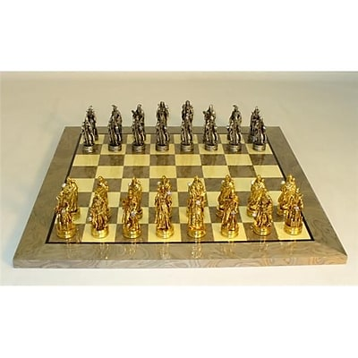 Royal Chess Fantasy Pewter Grey Briar Chess Set - Pewter Chessmen-Glossy Board (WWI2020) 2488291
