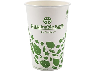 Sustainable Earth by Staples Hot Cups, 16 Oz., White, 300/Carton (SEB28991)
