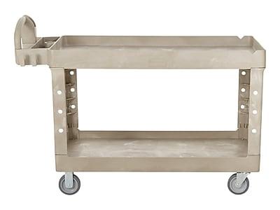 Rubbermaid 2-Shelf Plastic/Poly Utility Cart, Beige (FG452500BEIG)