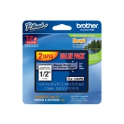 "Brother TZE1312PK Label Maker Tapes, 0.47""W, Black On Clear, 2/Pack"