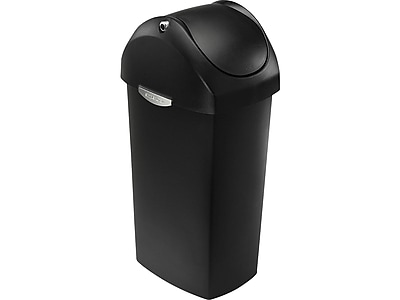 simplehuman Indoor Swing Lid Trash Can, Black Plastic, 16 Gal. (CW1333)