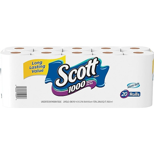 Scott 1000 Bath Tissue Rolls 20 Rolls Case 1 Ply 20032 Staples
