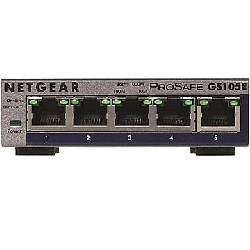 NETGEAR 5-Port Gigabit Ethernet Plus Switch (GS105Ev2) - Desktop, and ProSAFE Limited Lifetime Protection