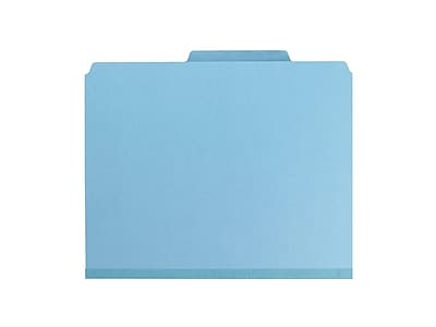 "Smead Pressboard Classification Folders with SafeSHIELD Fasteners, 2"" Expansion, Letter Size, 2 Dividers, Blue, 10/Box (14030)"