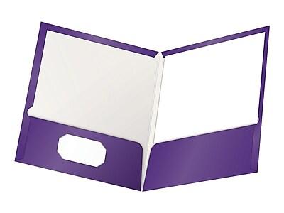 Oxford ShowFolio Twin Laminated Folders, Purple, 25/Box (OXF 51726)