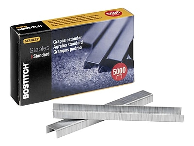 "Bostitch Premium Standard Staples, 0.25"" Leg Length, 5000/Box (SBS191/4CP)"