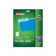 "Avery Laser/Inkjet File Folder Labels, 2/3"" x 3 7/16"" Clear, 30/Sheet, 15 Sheets/Pack (5029)"