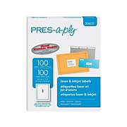 "Pres-a-ply Laser/Inkjet Address Labels, 8 1/2"" x 11"", White, 1/Sheet, 100 Sheets/Pack (30605)"