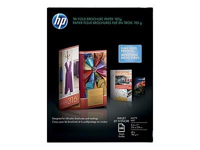 """HP Tri-fold Matte Brochure Paper, 8.5"""" x 11"""", 100/Pack (Q5443A)"""