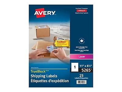 "Avery TrueBlock Laser Shipping Labels, 8 1/2"" x 11"", White, 1/Sheet, 25 Sheets/Pack (5265)"
