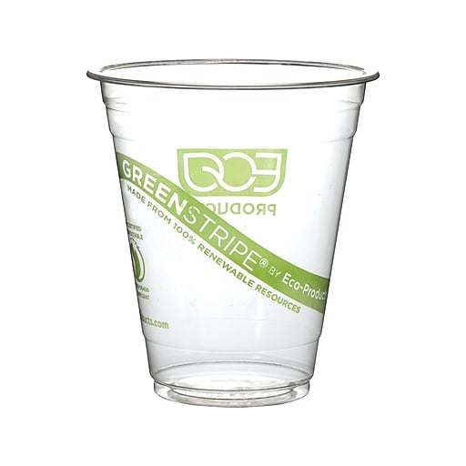 Eco-Products GreenStripe Cold Cups, 12 Oz., Transparent/Green, 50/Pack (EP-CC12-GS)