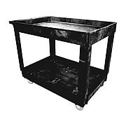 Rubbermaid 2-Shelf Plastic/Poly Utility Cart, Black (FG9T6700BLA)