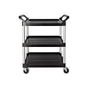Rubbermaid 3-Shelf Plastic/Poly Utility Cart, Black (FG342488BLA)
