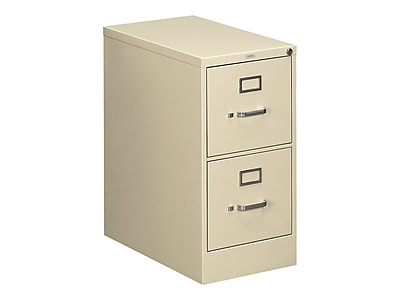 "HON 510 Series 2-Drawer Vertical File Cabinet, Locking, Letter, Putty/Beige, 25""D (H512.P.L) NEXT2019 NEXT2Day"