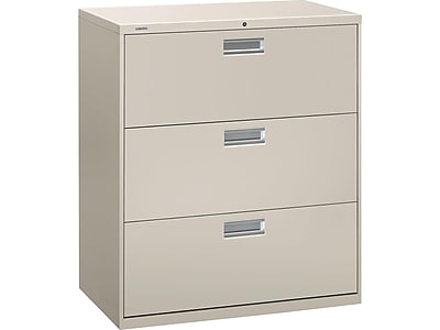 "HON Brigade 600 Series 3-Drawer Lateral File Cabinet, Locking, Letter/Legal, Gray, 36""W (H683.L.Q) NEXT2019 NEXTExpress"