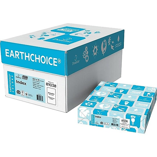 """Domtar EarthChoice® Colors Index Paper 8.5"""" x 11"""" Britewhite 250/PK (81038) 