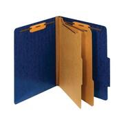 Staples Moisture-Resistant Classification Folders, 2/5-Cut Top Tab, Letter Size, 2 Dividers, Navy Blue, 10/Box (614620/PU61MDBL)