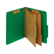 Staples Moisture-Resistant Classification Folders, 2/5-Cut Top Tab, Letter Size, 2 Dividers, Green, 10/Box (614621/PU61MDGR)