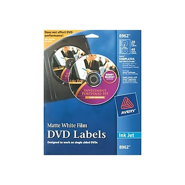 Avery Inkjet Media Labels, White Matte, 20 Disc and 40 Spine Labels/Pack (8962)