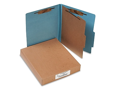 ACCO Pressboard 4-Part Classification Folders, Letter Size, Blue, 10/Box (A7015024)