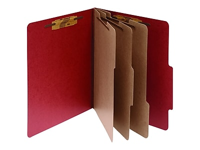 ACCO Pressboard Classification Folders with Permclip Fasteners, 8-Parts, Letter Size, 3 Dividers, Earth Red, 10/Box (A7015038)