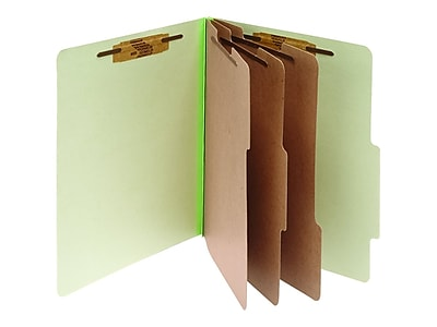 ACCO Pressboard Classification Folders, Letter Size, 3 Dividers, Leaf Green, 10/Box (A7015048)