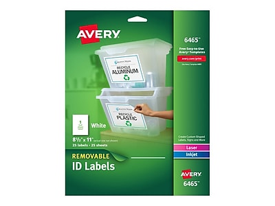 photo relating to Removable Printable Labels called Avery Laser/Inkjet Id Labels, 8 1/2\