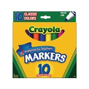 Crayola Kid's Markers, Broad Line, Assorted Colors, 10/Pack (58-7722)