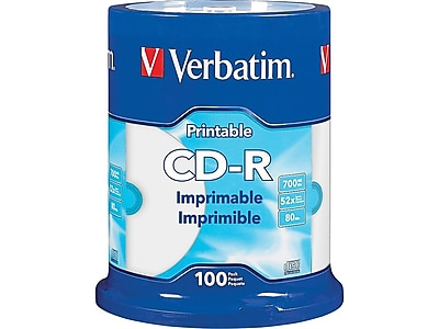 graphic about Inkjet Printable Cds titled Verbatim 98493 52x CD-R, White Inkjet Printable, Hub Printable, 100/Pack