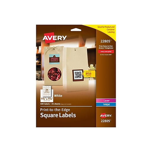 Avery Easy Peel Print To The Edge White Square Labels 1 1 2 X 1 1